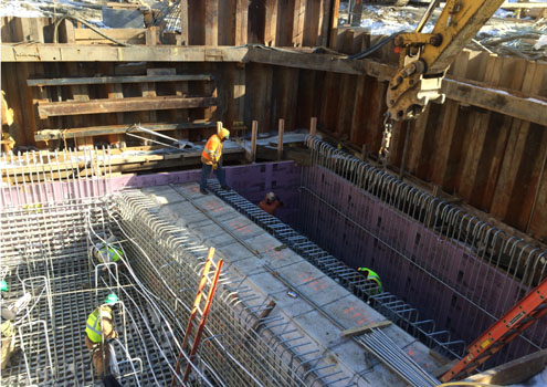 Steel work for Pier 3 foundation with protected sewer line
